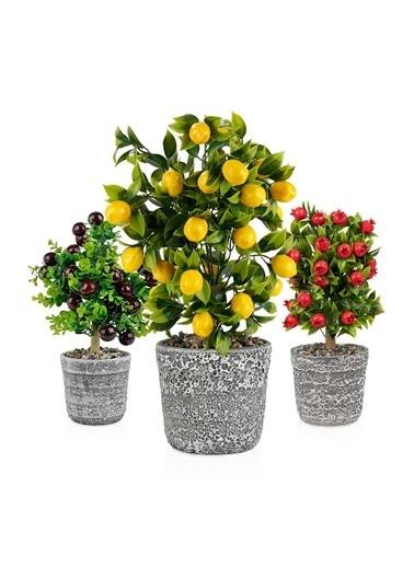 Çiçekmisin Porselen Saksıda Yapay Ağaçlar 3'lü Set Limon Nar Kiraz Renkli